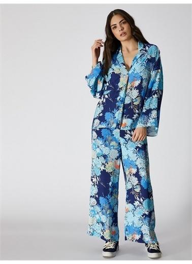 Vekem-Limited Edition Çiçek Desenli Rahat Kesim Bluz Turkuaz